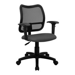 Flash Furniture - Ergonomic Contoured Task Arm Chair - Height adjustable arms. 3 in. thick fabric upholstered seat. Pneumatic seat height adjustment. Heavy duty nylon base. Heavy duty dual wheel casters. Warranty: 2 year limited. Assembly required. Back: 17.25 in. W x 17.5 in. H. Seat: 18 in. W x 17.25 in. D. Seat Height: 17.5 - 21.5 in.. Arm Height from Seat: 7 - 9.75 in.. Overall: 22 in. W x 22 in. D x 34 - 38 in. H (30 lbs.)