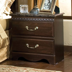 Standard Furniture - Standard Furniture Sorrento 23 Inch Nightstand in Olympus Brown - The Sorrento collection captures fashion and class through meticulous craftsmanship and attention to detail. Architectural elegance with intricate carvings and interesting detail. Simulated marble tops illustrate modern style and sophistication. Cast metal hardware encompasses a beautiful antique look with simulated brass finish. Simulated antique brass color grills in the center of Sorrento's headboard and mirror make focal points for the whole suite. French dovetail construction throughout enhances durability. Roller side drawer guides provide ease and convenience. Beautiful simulated Olympus brown color finish gives the look and feel of quality and elegance. Rich faux marble stone tops on all case pieces present attractive, easy-to-clean surfaces.  - 4027.  Product features: Belongs to Sorrento Collection by Standard Furniture; Drawers offer roller side drawer guides allowing for easy operation; Drawer stops are included for safety; 2 Drawers; Bail pulls and knobs with simulated antique brass color finish; Wood products with simulated wood grain laminates; Architectural elegance with intricate carvings and interesting detail; Simulated marble tops; Cast metal hardware encompasses a beautiful antique look with simulated brass finish; French dovetail construction throughout enhances durability; Roller side drawer guides provide ease and convenience; Rich faux marble stone tops on all case pieces; This group may contain plastic parts; Iron is used for the grills; Surfaces clean easily with a soft cloth; Abby Wood and Olympus Brown color. Product includes: Nightstand (1). 23 Inch Nightstand in Olympus Brown belongs to Sorrento Collection by Standard Furniture.