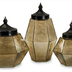 "Imax Worldwide Home - Prism Hammered Jars with Lids - Our Prism Hammered Jars with Lids will stand out in any setting, whether displayed individually or as a set. Each food safe lidded jar has a hammered texture with a glowing finish to make storing your household odds and ends a stylish task.; Country of Origin: India; Weight: 6.4 lbs; Dimensions: 8-9.25-10.75""h x 6.25-7-9.25""w x 6.25-7.25-9.25""d"