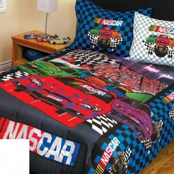 Sports Coverage - Sports Coverage Nascar Bed In a Bag - Sports Coverage Nascar Bed In a Bag is a great way for the NASCAR enthusiast to sleep comfortably with this officially licensed Nascar Bedding Set! Brilliant Nascar colors and graphics enhance the Nascar 3-Piece Comforter Set for your Twin or Full sized bed at 76 x 86 Rev up with a super soft Comforter and matching Sham and Pillowcase. All three pieces are made of 100% Polyester, lead the way in comfortable and durable microfiber that is machine washable. Sham has a 2 flanged edge and 3 envelope enclosure on the back - 25 x 31 overall.  The Pillowcase is standard size. This winning look offering checkered accents will do your pit crew proud every time they hit the speedway!    Features:  - Nascar 3-Piece Comforter Set,   -  Set includes Comforter, Sham and Pillowcase,    -  100% Polyester Microfiber ,    - Machine Washable,   -  Comes in one size Twin/Full,