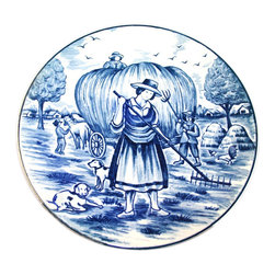 EuroLux Home - Small Consigned Vintage Blue White Delft Plate Summer - Product Details