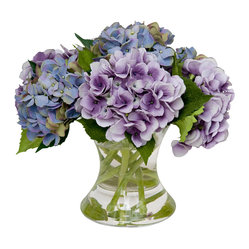 The French Bee - Mixed Hydrangea - Don't you love cut hydrangeas? Don't you not love how quickly they wilt? Not an issue with these lovely artificial versions, which look so real you'll have to touch them out of sheer curiosity. Displayed in a simple, flared glass vase, keep them looking garden-fresh by dusting with a soft cloth.
