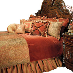 AICO Furniture - Woodside Park Queen 12-piece Comforter Set - Classic Traditional Motif. Spice Color Scheme. 1 Comforter, 2 Euro Shams, 2 Standard Pillow Shams, 1 Bedskirt (3 Pieces), 6 Decorative Accent Pillows