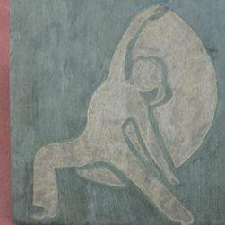 "Client Logos- Art for Yoga Studio - 18"" x 18"" hand carved artisan stone tile for a yoga studio"