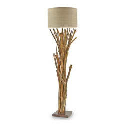 Kathy Kuo Home - Umber Rustic Lodge Bundled Branches Floor Lamp - S - Bundled organic branches create a rustic, natural environment around the base of plantation hardwood. An impressive, tall floor lamp lights up your lodge or library through a tan raffia drum shade. The slim silhouette fits neatly in corners and small spaces.