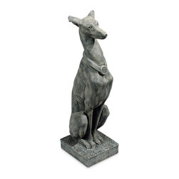 Ladybug - Whippet Statue in Moss Finish - 1-Year warranty. Made in USA. Made of pecan shell resin. 10.25  in. W x 8 in. D x 30 in. H (17 lbs.)The finishes are applied by hand, enhancing every detail, and resulting in the uniqueness of no two pieces being exactly alike. Each individually hand-crafted piece of Ladybug product is cast in a crushed marble or resin composition which has the ability to capture and reproduce the same definition and minute detail as the original. It is a substantial, non-porous material which does not absorb moisture, making it ideal for outdoor use, although it offers the strength and durability required to endure even extreme weather conditions.