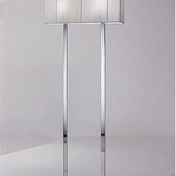 "Axo - Clavius floor lamp - Product description:     The Clavius floor lamp consists of a chrome plated frame and a handmade silk thread lampshade. It is  available in ivory white, black and tobacco. The lamp shade has an opal acrylic diffuser. The series includes table, ceiling, wall and floor lamps as well as pendant lights.        Clavius floor lamp: It features a chrome plated frame and a silk thread rectangular lampshade.                Details:                                Manufacturer:                             Axo Light                                                Designer:                             Manuel Vivian                                                Made in:              Italy                                  Dimensions:                             Height: 13.8"" (35 cm) x width: 23.6"" x 5.9"" (60 x 15cm) x Overall Height: 65"" (165 cm)                                                Light bulb:                             2 x 100W - E26 incandescent light bulbs (not included)                                                Material               silk, chrome plated metal                         Designer Manuel Vivian:    Born in Venice in 1971, his interest in design started when he was very young, in particular with reference to blown glass, also thanks to his family business. After succeeding in making the first projects in glass, Manuel enlarged his range of interests to the various fields of Interior Design. Since AXO Light was born in 1997, he has been cooperating constantly with the company and became its main designer."