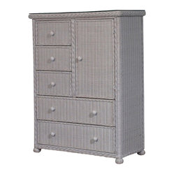 Elana 5-Drawer 1-Door Wicker Chest