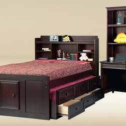 Full Size Kids Captain Bed with Bookcase Headborad - This kids captains bed is crafted with solid hardwood and bead board panel available in Walnut, Dark Pecan, Pecan, Black, White and Birch (Natural) Finish.