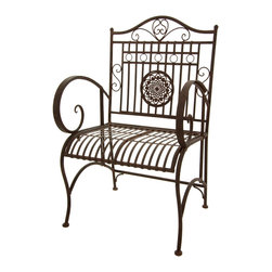 Oriental Furniture - Rustic Garden Chair - Rust Patina - This handsome wrought iron garden chair features smooth lines and intricate detail that recall the fine craftsmanship of an earlier era. Finished with a handsome faux-rust patina that looks and feels authentic, this armchair will bring a classic heirloom accent to your home decor. Springy and comfortable, this garden seat is perfect for relaxing in the living room, patio, or lawn.