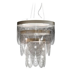 """Slamp - Ceremony Mini Chandelier by Slamp - The lacy drape of the SLAMP Ceremony Mini Chandelier adds distinctive elegance to modern spaces. This unique shade is made out of numerous curved strips of Cristalflex in smoky Fume or bright White. Layered in arched panels around the metal frame, these strips create an altogether soft, formal form and sparkle.First conceived in 1994 by Italian designer Roberto Ziliani, SLAMP lighting has garnered world recognition as being at the top of a very short list of innovative and envelope-pushing lighting companies. Continually existing and resisting, SLAMP, with their resounding mantra, """"From Italy to Eternity,"""" sets the stage for their newest and most avant-garde collections yet.The SLAMP Ceremony Mini Chandelier is available with the following:Details:Cristalflex shadeMetal frameSilver finishRound ceiling canopy158"""" suspension cablesNot UL/ETL ListedCE RatedMade in ItalyDesigned by Bruno RainaldiOptions:Shade: Fume, or White.Lighting:Three 23 Watt 120 Volt Type E26 Fluorescent lamps (not included).Shipping:This item usually ships within 10-12 weeks."""