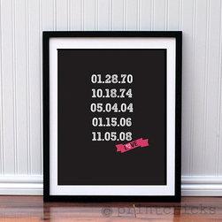 Anniversary Important Dates Ribbon Typography Print by Print Chicks - Never forget the important dates in your relationship again with this custom poster listing them all out for both of you. My husband and I have two wedding dates to keep track of, and we never remember which is which.
