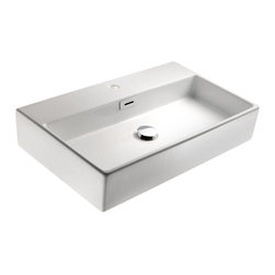 WS Bath Collections - Quarelo 16 in. Bathroom Sink in Ceramic White - Faucet Hole: Without Faucet HoleCountertop or Wall-mount Installation. With Overflow. Ceramic White. Made by Lineabeta of Italy. Product Material: Ceramic. Finish/Color: Ceramic White. Dimensions: 14.2 in. W x 16.5 in. L x 5.1 in. H