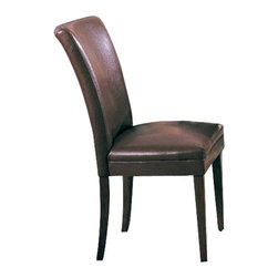 """Coaster - Parson Chair (Brown) By Coaster (Set Of 2) - Set of 2. Contemporary style. Stitched details at back. Made from wood veneers. Tapered legs in cherry finish. 23.5 """" W x 19 """" D x 38 """" H.  A parson chair adds classic sophistication to any dining area."""