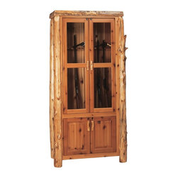 Fireside Lodge Furniture - Cedar Gun Log Cabinet in Lacquer Finish (12-G - Choose Gun Capacity: 12-GunCedar Collection. Storage cabinets. Locking upper and lower cabinets. Lighting in the upper cabinet. All hinges are concealed European style for a clean uncluttered look. All doors are inset. Northern White Cedar logs are hand peeled to accentuate their natural character and beauty. Clear coat catalyzed lacquer finish for extra durability. 2-Year limited warranty. 83 in. W x 46 in. D x 16 in. H (175 lbs.)
