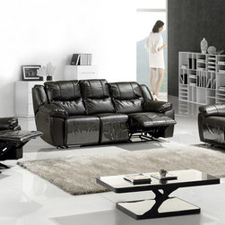 Modern Chocolate Leather Reclining Sofa Set Loveseat Recliner Chair - Features