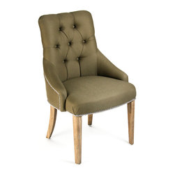 Kathy Kuo Home - Anneau Olive Linen Tufted Nailhead Vanity Dining Chair - Inviting yet slightly formal thanks to a decorative ring detail on the back, crisp button upholstery and decorative edge tacking, the Anneau chair offers comfort and good looks which are sure to complement any room.