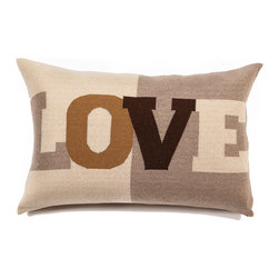 "Rani Arabella - Rani Arabella Azure Love Cashmere Blend Pillow, Sand - Add a fun, bold print to your living or dining room using the Love Cashmere Blend Pillow. Made from 70% cashmere and 30% wool, this pillow features the word ""Love"" in large type against sand and taupe color blocking. Pair it with neutral or warm colors for a cohesive, but eye-catching look. Includes a 50% down and 50% polyester insert. Dry clean only. Made in Italy."
