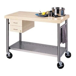 John Boos - Kitchen Cart - Cucina Magnifico - Convenient electrical outlet allows you to do all of your work in one place. The cart also features two handy drawers and a stainless steel towel bar. Portable and attractive, this steel kitchen cart is loaded with luxuries. Working in your kitchen becomes much easier when you add this versatile and practical kitchen work center. Store utensils in the two simple drawers beneath the cart top. * 2.25 in. thick edge grain hard maple top. Stainless steel shelf (food service grade). Dovetailed drawers. Towel bar is stainless steel. Electrical outlet strip. 5 in. locking casters are commercial grade. Varnique Finish. 35 in. H x 48 in. W x 24 in. D x 200 lbs.
