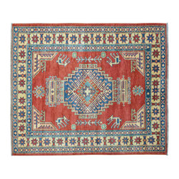 Area Rug, Hand Knotted 4'X5' Tribal And Geometric Kazak 100% Wool Rug SH11587 - This collections consists of well known classical southwestern designs like Kazaks, Serapis, Herizs, Mamluks, Kilims, and Bokaras. These tribal motifs are very popular down in the South and especially out west.