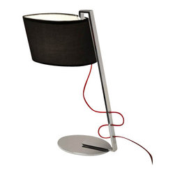 """Schuller - Schuller Flow Table Lamp - Oval Black Shade - The Flow Table Lamp - Oval Black Shade has been made by Schuller in Spain  This beautiful collection was made of  polished stainless steel and bright chrome base, supplied with 2 cable options (red and clear)  This modern table lamp is an impresive presence in any kind of room, bringing a touch of novelty to the environment where it is placed The lamping comes with 1 x E27 max 60W Incandescent bulbs (Not included)   The Flow Table Lamp - Oval Black Shade has been made by Schuller in Spain  This beautiful collection was made of  polished stainless steel and bright chrome base, supplied with 2 cable options (red and clear)  This modern table lamp is an impresive presence in any kind of room, bringing a touch of novelty to the environment where it is placed The lamping comes with 1 x E27 max 60W Incandescent bulbs (Not included)      Manufacturer: Schuller   Designer: Schuller    Made in: Spain    Dimensions:  Height:22.05"""" (56 cm) X Depth:16.93"""" (43 cm) X Width:8.66"""" (22 cm)      Lamping:  1 X E27 Max 60W Incandescent     Material: Stainless steel"""