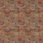 Gold Burgundy Orange Abstract Geometric Durable Upholstery Fabric By The Yard - P7035 is great for residential, commercial, automotive and hospitality applications. This contract grade fabric is Teflon coated for superior stain resistance, and is very easy to clean and maintain. This material is perfect for restaurants, offices, residential uses, and automotive upholstery.