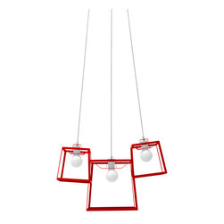 "Iacoli & McAllister - Three Piece Frame Cluster, Tomato - Call it the ""anti-chandelier."" Three individual lights (two small and one medium) are combined in a single, striking fixture. Hard-wired installation keeps this modern trio working as one. Ideal for the dining room, entry, stairwell — or anyplace that cries out for a creative lighting solution."