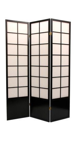 Oriental Unlimited - 6 ft. Tall Zen Shoji Screen Room Divider (5 Panels / Honey) - Finish: 5 Panels / HoneyCreate a Japanese inspired space with the addition of this elegantly stylish Zen Shoji privacy screen. Large window panes are reminiscent of the original Asian room separators, providing complete privacy while allowing diffused light. For an open, airy feeling that provides privacy in a subtle manner, this multi panel screen is the answer. Screens may vary slightly in color. Comes complete with a kick plate at the bottom to provide extra stability and protection from scuffs. A new style reminiscent of our window pane and Mado screens but with larger panes. Panel frames are crafted from durable and lightweight Scandinavian Spruce. Panels are constructed using Asian style mortise and tenon joinery. Shade is strong. Fiber reinforced pressed pulp rice paper allows diffused light, yet provides complete privacy. Lacquered brass, 2-way hinges mean you can bend the panels in either direction. Black finish. Assembly required. Each panel: approximately 17 in. L x .75 in. W x 70.25 in. H. 3 Panel screen: approximately 53 in. wide flat, approximately 45 in. wide with panels folded to stand upright (as shown). 3-Panel version: 20 lbs.. Kick plate: 15 in. W x 13.5 in. H