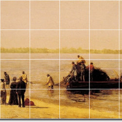 Picture-Tiles, LLC - Shad Fishing At Gloucester On The Deleware River Tile Mural By Thomas - * MURAL SIZE: 48x72 inch tile mural using (24) 12x12 ceramic tiles-satin finish.