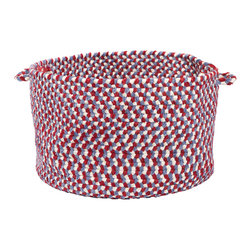 """Colonial Mills - Blokburst Chenille Storage Basket - Carnival, 18"""" x 12"""" - A braided storage basket in colors to love for any room. Made of soft Carnival color fabrics, it's built to organize yarn in the craft room to diapers in the nursery."""