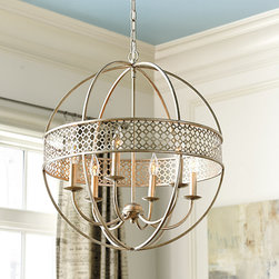 Ballard Designs - Marais 6 Light Orb Chandelier - Antique silver finish with gold patina. Hand crafted of steel. Our Marais 6-Light Orb Chandelier creates an airy and dramatic focal point in the entry or over a dining table. A pierced quatrefoil band surrounding the six candle arms diffuses the light for a warm inviting glow. Marais Orb Chandelier features: . .