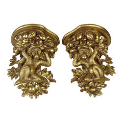 AA Importing - Monkey in Tree Wall Shelves w Gold Tone Finis - Pair of monkey brackets. Resin with Gold finish. 15 in. L x 6 in. W x 12 in. H