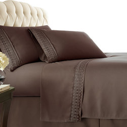 Southshore Fine Linens, Inc. - Aspen Lace 4-Piece Sheet Set, Chocolate Brown - Made with high strength microfiber yarns these shrinkage-free sheets are decorated with a beautiful lace. Double brushed for extra softness, these sheets feature a 110 GSM microfiber fabric to ensure a cozy feeling.