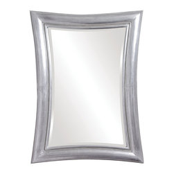 Silver Pucker Mirror - Add this whimsical mirror to your wall for a splash of fun.  Reminscent of fun-house mirrors, but without the wild distortion, the inverted frame of this silver mirror is finished in a burnished metallic silver leaf.