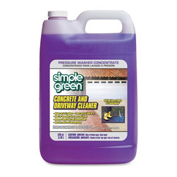 simple green - Simple Green Concrete/Driveway Cleaner Concentrate, Liquid Solution - Concrete and Driveway Washer Concentrate handles grease, oil, outdoor pollutants and biological stains and cleans concrete, brick, block, slate and more. Use in pressure-washers or manual cleaning. Labeled directions ensure equipment and landscape safety. Safe for areas visited by kids, pets and wildlife, the nontoxic cleaner has no added fragrance, chlorines or phosphates. Powerful pressure-washing formula is concentrated for 10 times extended coverage value, covering up to 5,540 square feet at lightest solution.