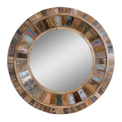 Uttermost - Jeremiah Round Wood Mirror - Frame is made of individual panels of reclaimed old doors fastened to solid mango wood. Colors will vary on each piece.