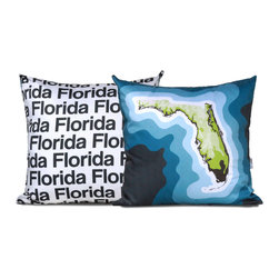 Florida Map Pillow, Blue - This dual sided pillow features a topographical map of Florida on the front and the state name text on the reverse.
