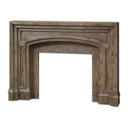 Uttermost - Uttermost 24801  Avrigo Fireplace Mantel - Built in carved layers of solid fir wood, this fireplace surround showcases the honest beauty of uncovered wood grain and skilled architectural craftsmanship.