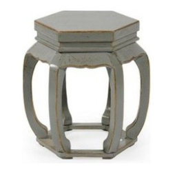 Hexagonal Stool, Misty Gray Crackle - Use this very chic hexagonal Chinese garden stool in gray crackle as extra seating or as a side table.