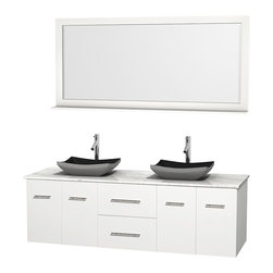 """Wyndham Collection - Centra 72"""" White Double Vanity, White Carrera Marble Top, Black Granite Sinks - Simplicity and elegance combine in the perfect lines of the Centra vanity by the Wyndham Collection. If cutting-edge contemporary design is your style then the Centra vanity is for you - modern, chic and built to last a lifetime. Available with green glass, pure white man-made stone, ivory marble or white carrera marble counters, with stunning vessel or undermount sink(s) and matching mirror(s). Featuring soft close door hinges, drawer glides, and meticulously finished with brushed chrome hardware. The attention to detail on this beautiful vanity is second to none."""