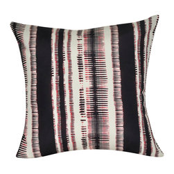 """Loom and Mill - Loom and Mill P0152-2121P 21"""" x 21"""" Black Stripe Decorative Pillow - This tribal twist on ikat strips is a gorgeous decorative pillow, well-constructed and plush. Spot clean only."""