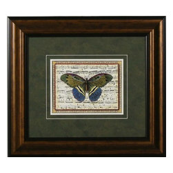 Double Matt Framed Butterfly Set on Music Print  18 x 16, Butterfly I I - Pretty framed butterfly print with musical score behind the butterfly. Complementary print also listed.  Great for small spaces.  18 x 16