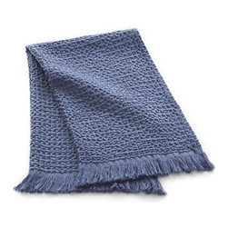 Waffle Blue Hand Towel - Textured waffle-weave cotton, friendly fringed borders and chic blue color extend a warm welcome as guest or hand towels.