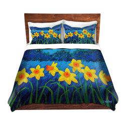 DiaNoche Designs - Duvet Cover Microfiber by John Nolan - Moonlit Daffodils - Super lightweight and extremely soft Premium Microfiber Duvet Cover in sizes Twin, Queen, King.  This duvet is designed to wash upon arrival for maximum softness.   Each duvet starts by looming the fabric and cutting to the size ordered.  The Image is printed and your Duvet Cover is meticulously sewn together with ties in each corner and a hidden zip closure.  All in the USA!!  Poly top with a Cotton Poly underside.  Dye Sublimation printing permanently adheres the ink to the material for long life and durability. Printed top, cream colored bottom, Machine Washable, Product may vary slightly from image.