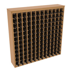 Wine Racks America - 144 Bottle Deluxe Wine Rack in Ponderosa Pine, Oak Stain + Satin Finish - Store 12 full cases in this wine rack furniture style storage. This wood wine rack is designed to look like a freestanding wine cabinet. Solid top and side enclosures promote the cool and dark storage area necessary for aging your wine properly.