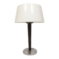 Used Gerald Thurston Black & White Table Lamp - Mid-century modern table lamp by Gerald Thurston for Lightolier with black leather stem, chrome base and white shade. Includes clear plastic diffuser. A vintage modern beauty!