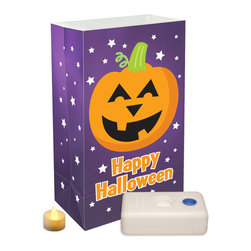 LumaBase Luminarias - Battery Operated Luminaria Kit Pumpkin - Battery operated luminarias will create festive lighting for your special event. The luminarias are weather resistant, reusable and can be used indoors or outdoors. The LumaBase is a water weighted base that will anchor the bag and hold the battery operated tea light secure. For outdoor use only. Included: 12 Plastic Bags, 12 Battery Operated Tea Light Candles (batteries included), 12 LumaBases