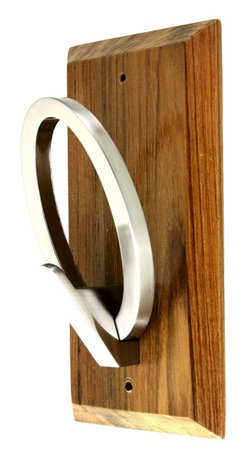 "MarktSq - Wooden Hook Rack (Q Hook) - This custom made wooden hook rack is unique and elegant. The hook is in the shape of the alphabet Q and has been mounted on a beautifully finished wooden plaque. Approximate Dimensions: L 4.25"" x H 8"" x T 0.5"""