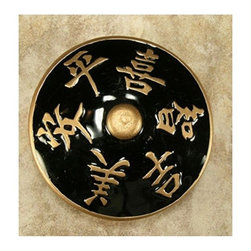 """Anne At Home - 3"""" Harmony Black/Gold Epoxy Knob - Hand cast and finished. Made in the USA. Pewter & Epoxy with brass insert. Collection: Asian. 3 in. L x 3 in. W x 1 in. H"""