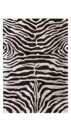 """Nourison - Nourison Splendor Animal Prints Shag Zebra Black White 7'6"""" x 9'6"""" Rug by RugLot - Create an atmosphere of casual elegance with these marvelous solid and patterned shag rugs. Get a groove going in your interiors with these updated, vibrant, multi-hued, atmospheric colors. This collection is perfect for a variety of decors, from contemporary to eclectic."""
